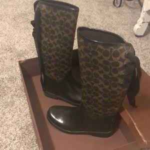 Gorgeous brown Coach rain boots